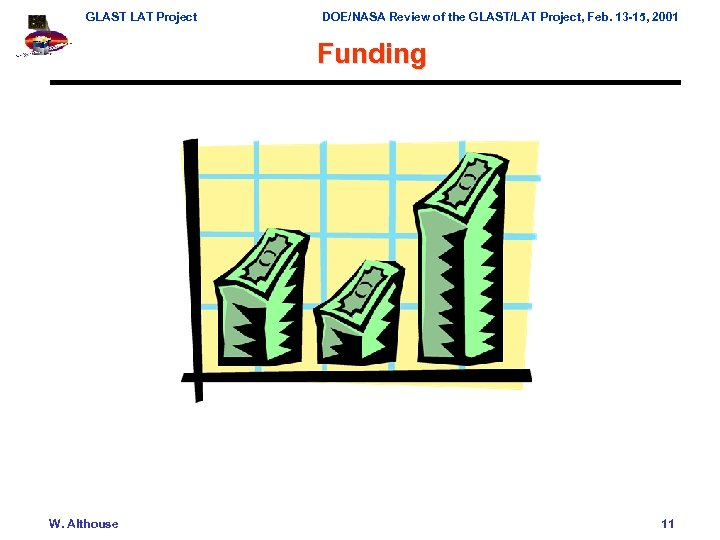 GLAST LAT Project DOE/NASA Review of the GLAST/LAT Project, Feb. 13 -15, 2001 Funding