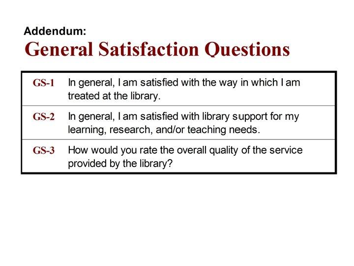 Addendum: General Satisfaction