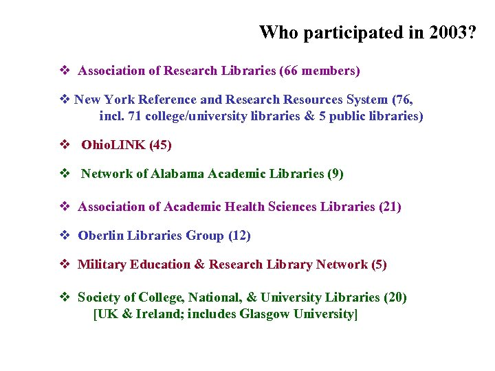 Who participated in 2003? (Groups & consortia) v Association of Research Libraries (66 members)