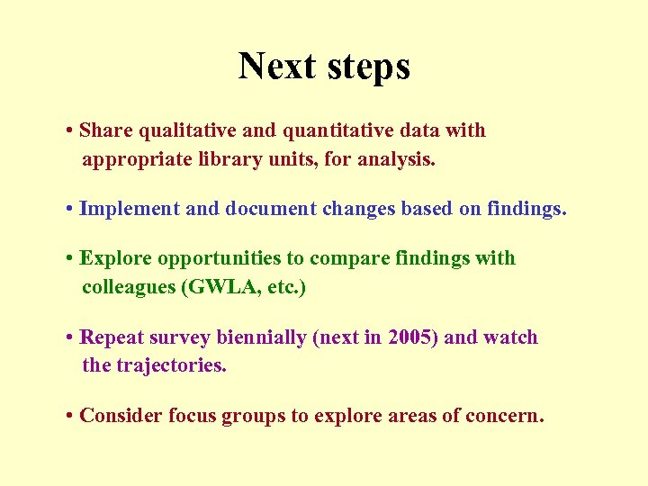 Next steps • Share qualitative and quantitative data with appropriate library units, for analysis.