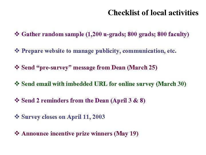 Checklist of local activities v Gather random sample (1, 200 u-grads; 800 faculty) v
