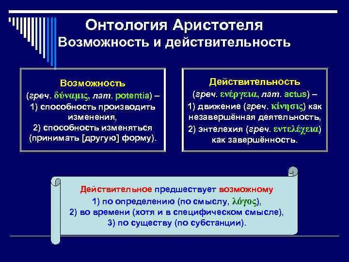 Онтология Аристотеля Возможность и действительность Возможность (греч. δύναμις, лат. potentia) – 1) способность производить