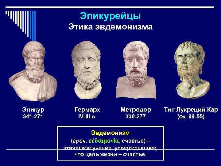 Эпикурейцы Этика эвдемонизма Эпикур Гермарх Метродор Тит Лукреций Кар 341 -271 IV-III в. 330