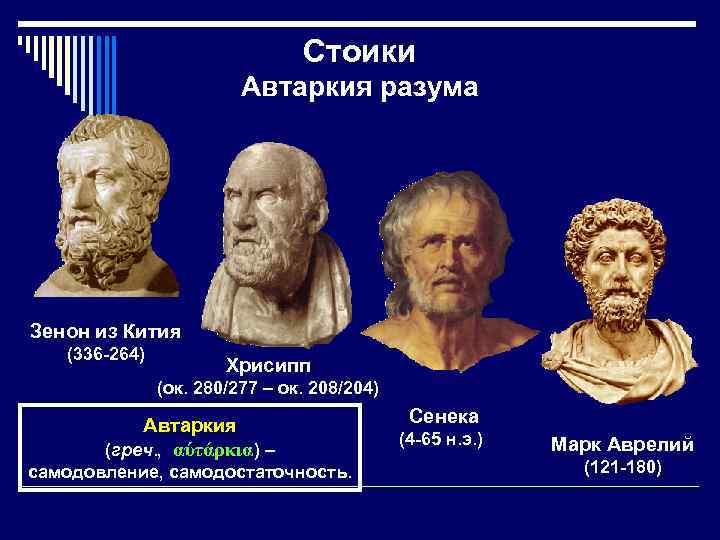 Стоики Автаркия разума Зенон из Кития (336 -264) Хрисипп (ок. 280/277 – ок. 208/204)