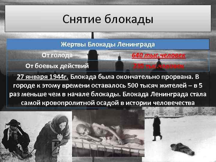 Снятие блокады Жертвы Блокады Ленинграда От голода 640 тыс. человек От боевых действий 235