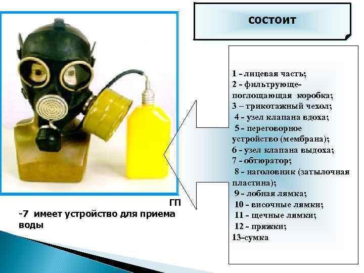 состоит Противогаз ГП-7 В отличается от ГП -7 имеет устройство для приема воды 1