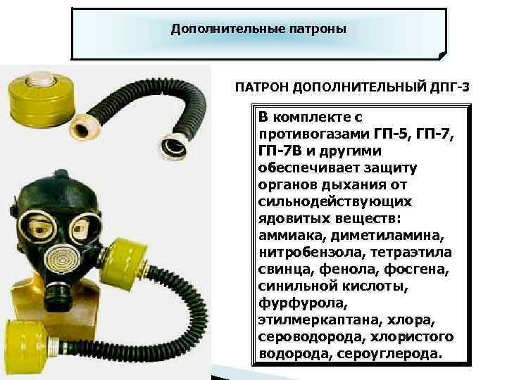 Дополнительные патроны ПАТРОН ДОПОЛНИТЕЛЬНЫЙ ДПГ-3 В комплекте с противогазами ГП-5, ГП-7 В и другими
