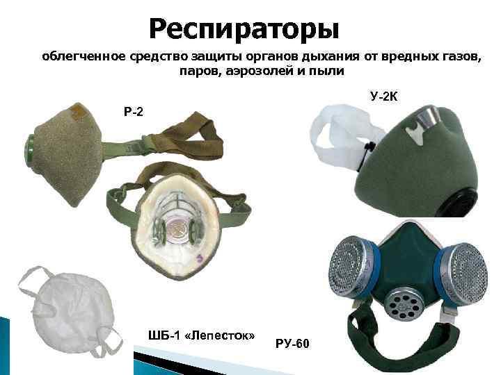 Респираторы облегченное средство защиты органов дыхания от вредных газов, паров, аэрозолей и пыли У-2