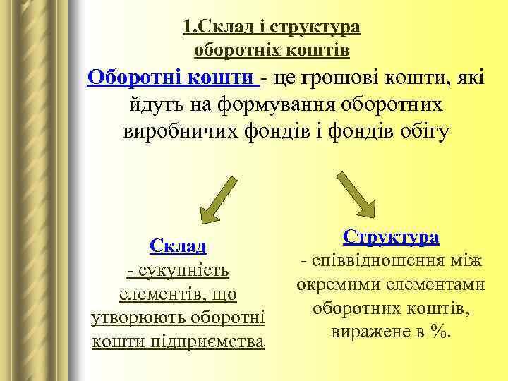 1. Склад і структура оборотніх коштів Оборотні кошти - це грошові кошти, які йдуть