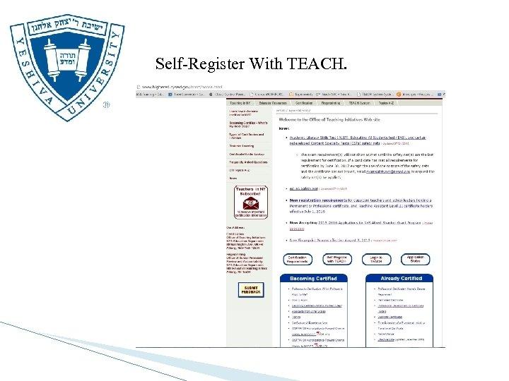 Self-Register With TEACH.