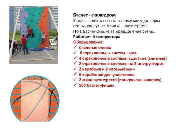 Баскет - скалодром Задача залезть по гигантскому мячу до верха стены, коснуться мячика –