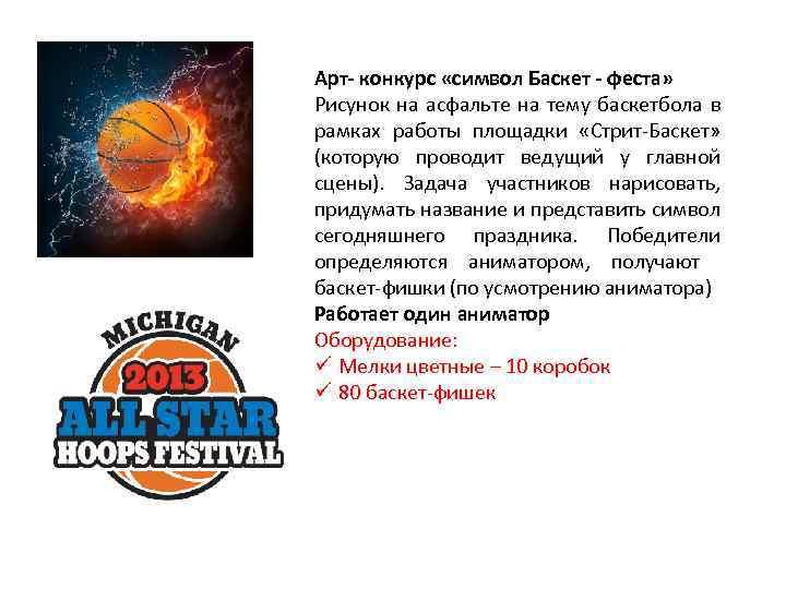 Арт- конкурс «символ Баскет - феста» Рисунок на асфальте на тему баскетбола в рамках