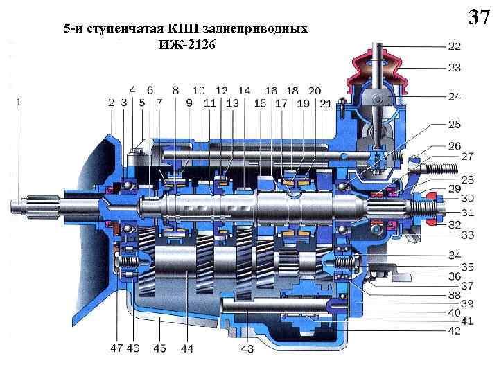 5 -и ступенчатая КПП заднеприводных ИЖ-2126 37