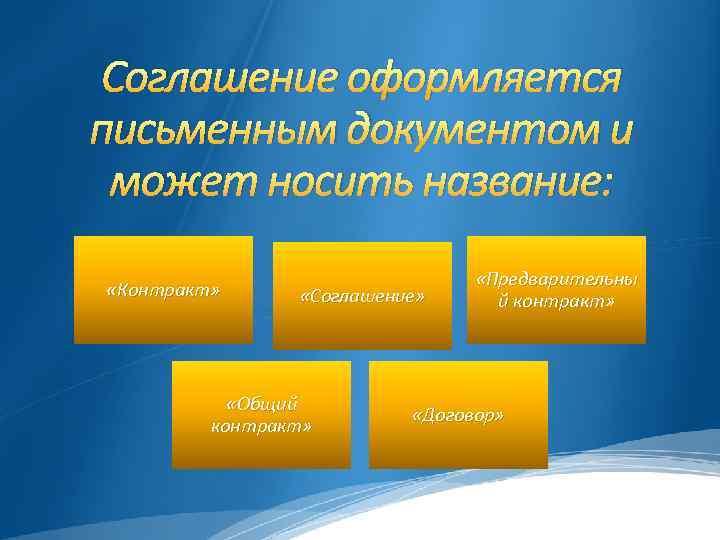 Соглашение оформляется письменным документом и может носить название: «Контракт» «Соглашение» «Общий контракт» «Предварительны й