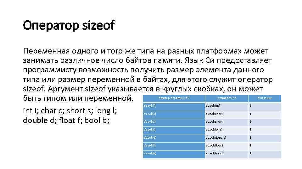 Оператор sizeof Переменная одного и того же типа на разных платформах может занимать различное