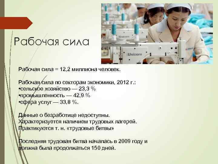 Рабочая сила = 12, 2 миллиона человек. Рабочая сила по секторам экономики, 2012 г.