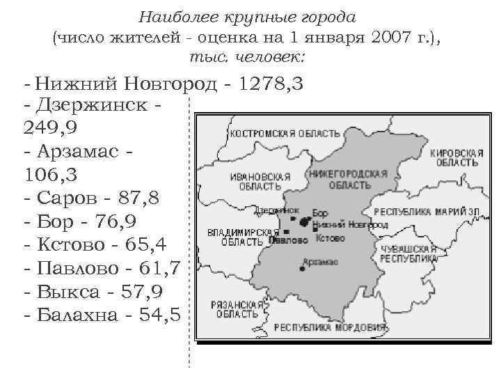 Наиболее крупные города (число жителей - оценка на 1 января 2007 г. ), тыс.