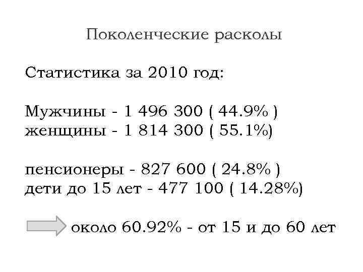 Поколенческие расколы Статистика за 2010 год: Мужчины - 1 496 300 ( 44. 9%