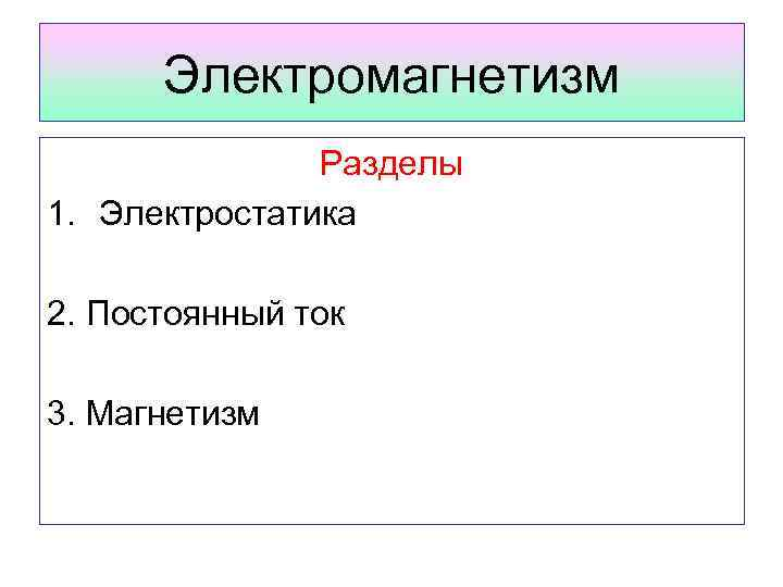 Электромагнетизм Разделы 1. Электростатика 2. Постоянный ток 3. Магнетизм