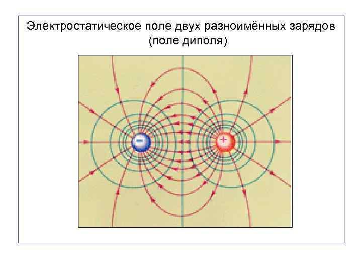Электростатическое поле двух разноимённых зарядов (поле диполя)