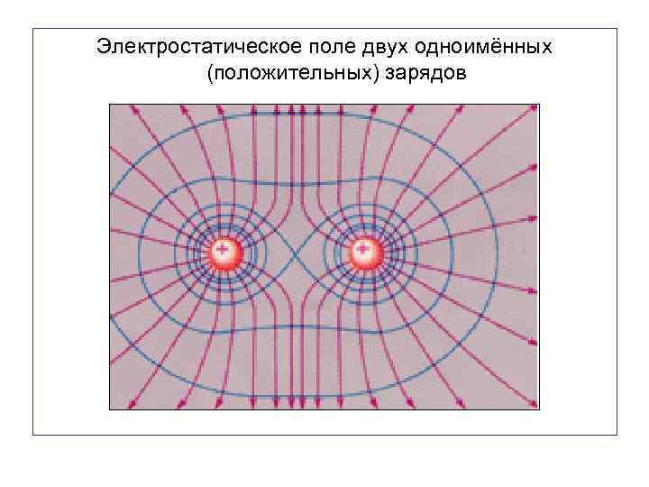 Электростатическое поле двух одноимённых (положительных) зарядов