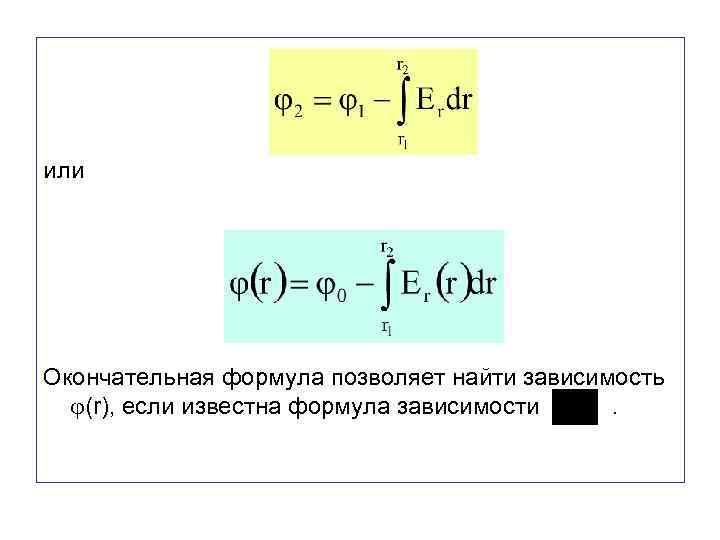 или Окончательная формула позволяет найти зависимость (r), если известна формула зависимости .