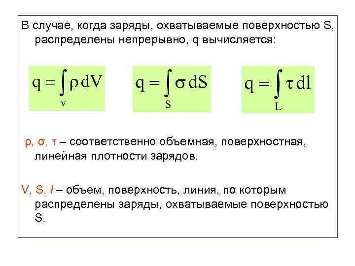 В случае, когда заряды, охватываемые поверхностью S, распределены непрерывно, q вычисляется: ρ, σ, τ