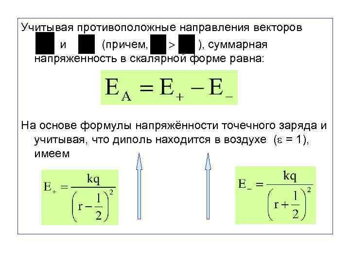 Учитывая противоположные направления векторов и (причем, ), суммарная напряженность в скалярной форме равна: На
