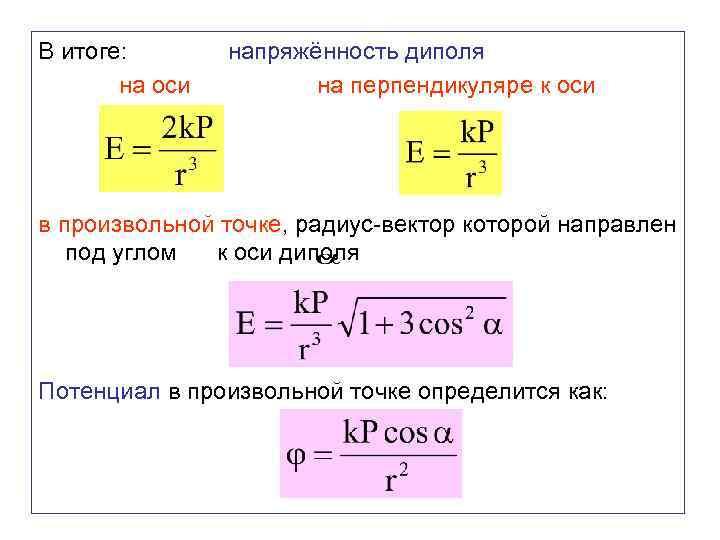 В итоге: на оси напряжённость диполя на перпендикуляре к оси в произвольной точке, радиус-вектор