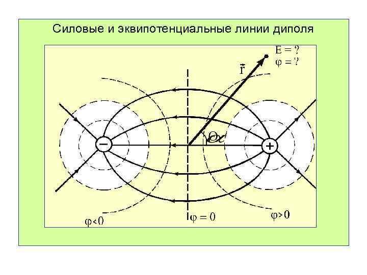 Силовые и эквипотенциальные линии диполя