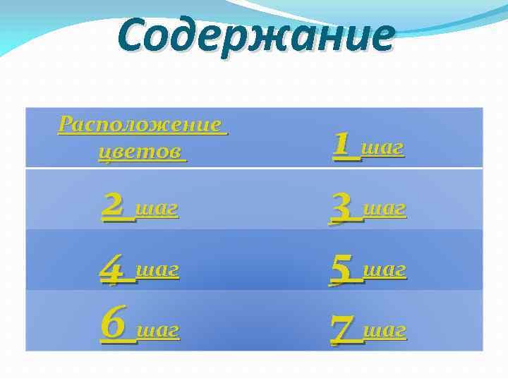 Содержание Расположение цветов 2 шаг 4 шаг 6 шаг 1 шаг 3 шаг 5