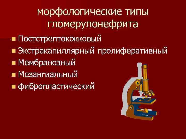 морфологические типы гломерулонефрита n Постстрептококковый n Экстракапиллярный n Мембранозный n Мезангиальный n фибропластический пролиферативный