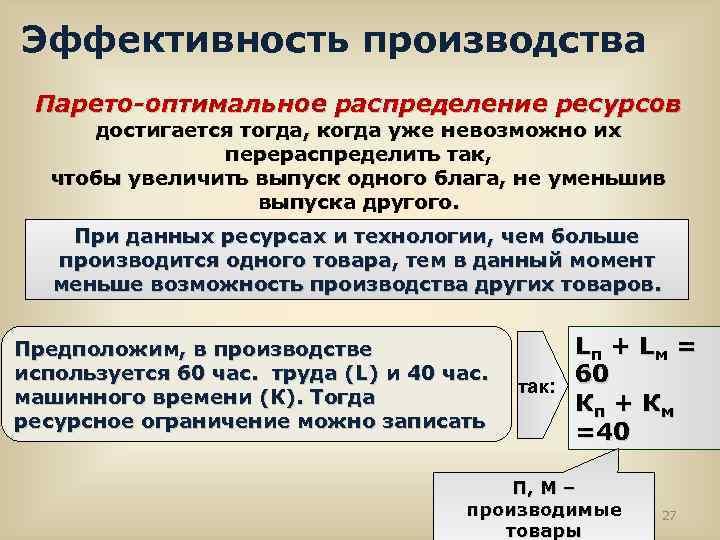Эффективность производства Парето-оптимальное распределение ресурсов достигается тогда, когда уже невозможно их перераспределить так,