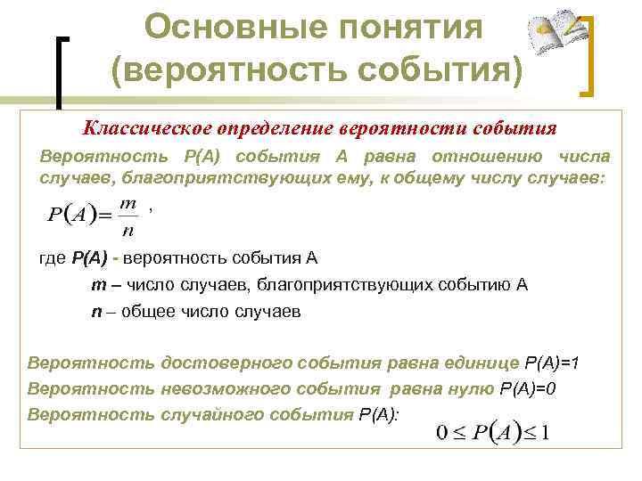 Основные понятия (вероятность события) Классическое определение вероятности события Вероятность Р(А) события А равна отношению