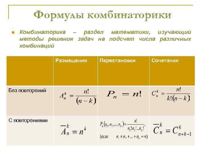Формулы комбинаторики n Комбинаторика – раздел математики, изучающий методы решения задач на подсчет числа