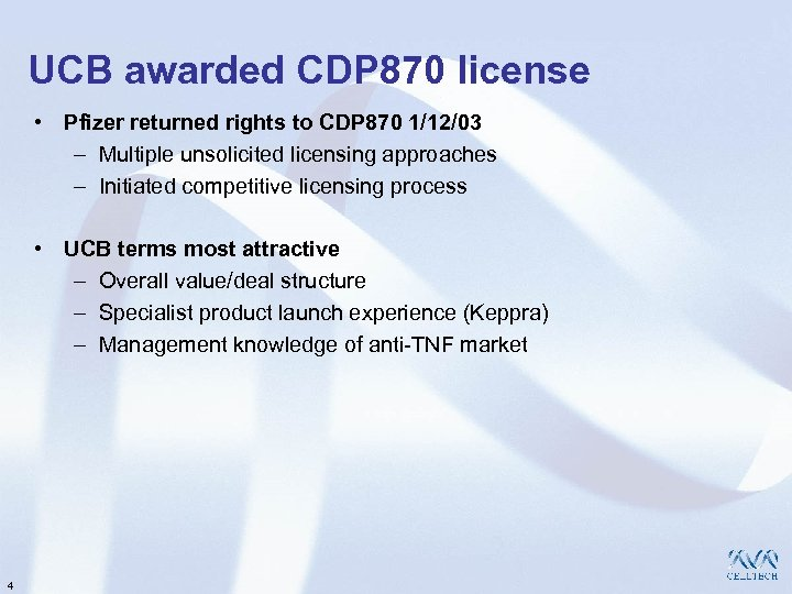 UCB awarded CDP 870 license • Pfizer returned rights to CDP 870 1/12/03 –