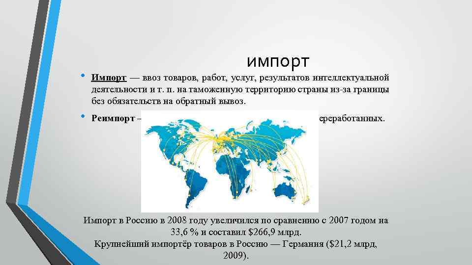 импорт • Импорт — ввоз товаров, работ, услуг, результатов интеллектуальной деятельности и т. п.