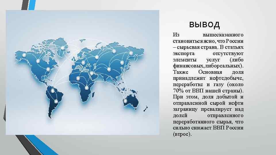 вывод Из вышесказанного становиться ясно, что России – сырьевая страна. В статьях экспорта отсутствуют