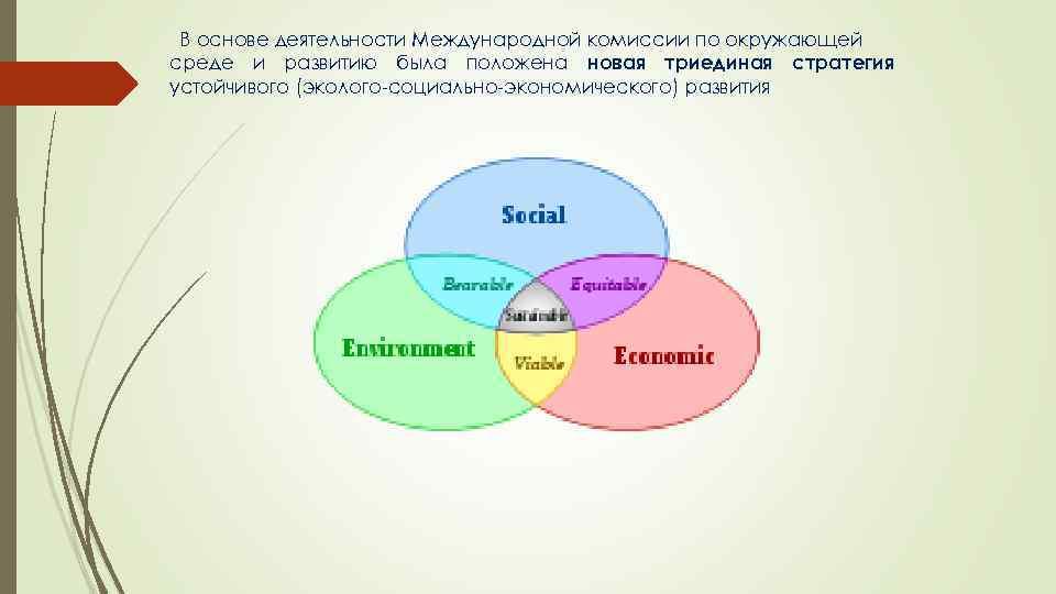 В основе деятельности Международной комиссии по окружающей среде и развитию была положена новая триединая