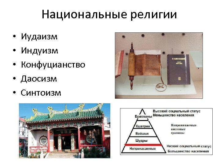 Национальные религии • • • Иудаизм Индуизм Конфуцианство Даосизм Синтоизм