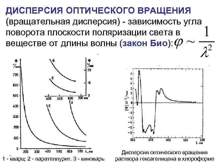 ДИСПЕРСИЯ ОПТИЧЕСКОГО ВРАЩЕНИЯ (вращательная дисперсия) - зависимость угла поворота плоскости поляризации света в веществе