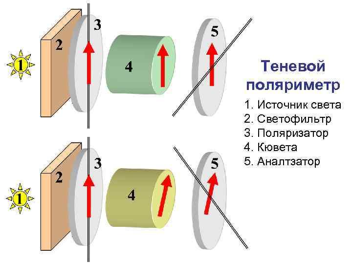 Теневой поляриметр 1. Источник света 2. Светофильтр 3. Поляризатор 4. Кювета 5. Аналтзатор