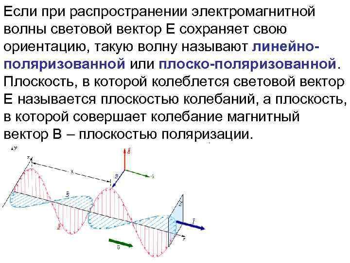 Если при распространении электромагнитной волны световой вектор E сохраняет свою ориентацию, такую волну называют