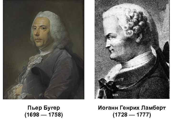 Пьер Бугер (1698 — 1758) Иоганн Генрих Ламберт (1728 — 1777)