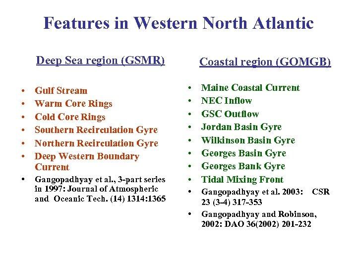 Features in Western North Atlantic Deep Sea region (GSMR) • • • Gulf Stream