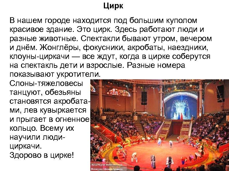 Цирк В нашем городе находится под большим куполом красивое здание. Это цирк. Здесь работают
