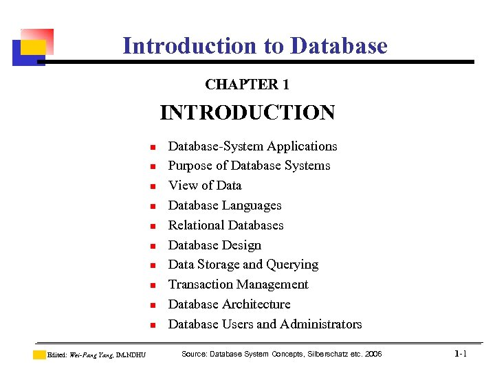 Introduction to Database CHAPTER 1 INTRODUCTION n n n n n Edited: Wei-Pang Yang,