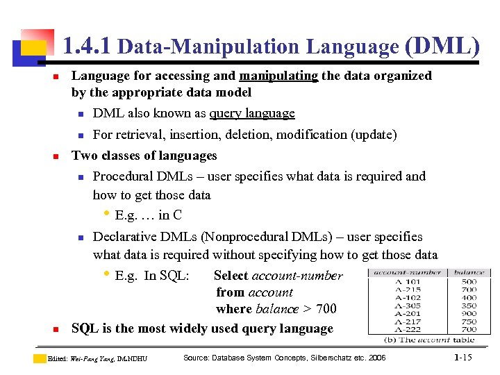 1. 4. 1 Data-Manipulation Language (DML) n Language for accessing and manipulating the data