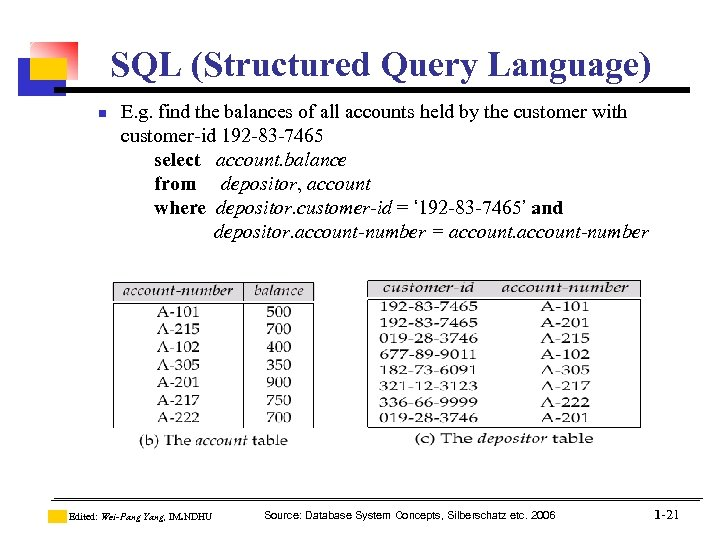 SQL (Structured Query Language) n E. g. find the balances of all accounts held