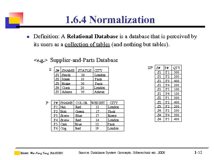 1. 6. 4 Normalization n Definition: A Relational Database is a database that is